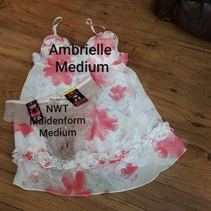 Ambrielle Babydoll M & NWT Panty M
